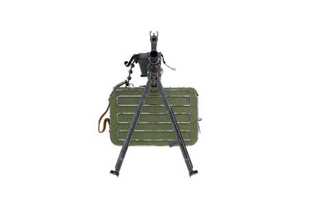 Gun automatic bipod with magazine, front view. 3D rendering Stock Photo