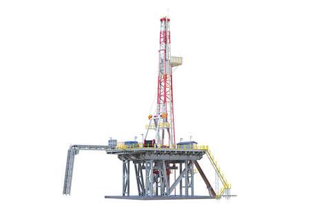 Land rig metal tower oil drilling. 3D rendering Standard-Bild