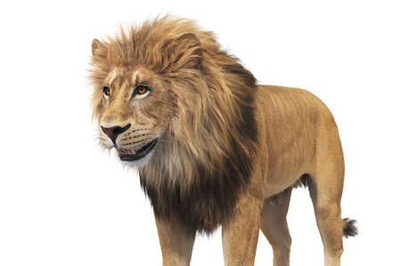 Lion beige fur majestic leader, close view. 3D rendering