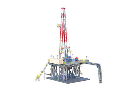 Land rig production oil industry. 3D rendering