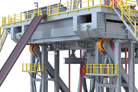 Land rig metal platform industry oil, close view. 3D rendering Stock Photo