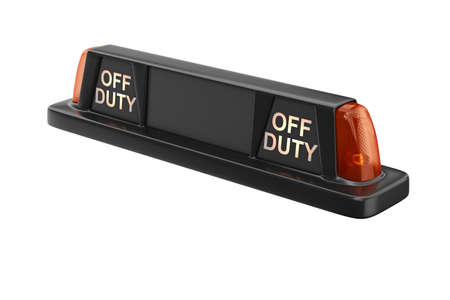 Taxi sign cab black with orange backlight. 3D rendering Stock Photo