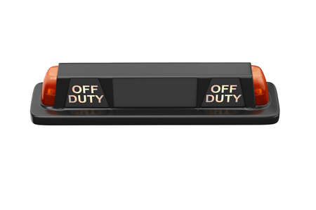 Sign cab taxi black with orange backlight, top view. 3D rendering