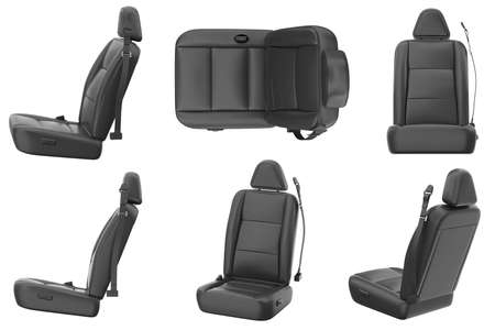 Car seat comfortable black leather set. 3D rendering Stock Photo