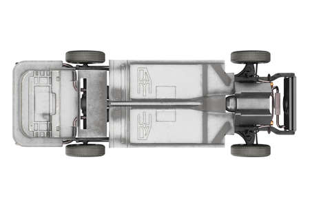 Chassis frame dirt underbody, top view. 3D rendering Stock Photo