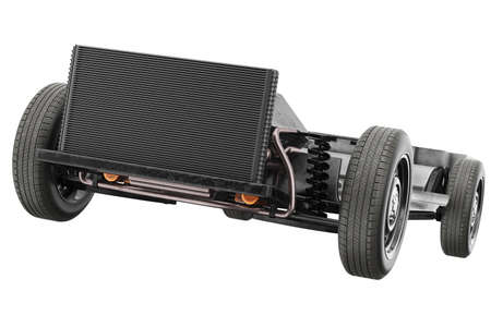 Chassis frame car with black radiator, close view. 3D rendering