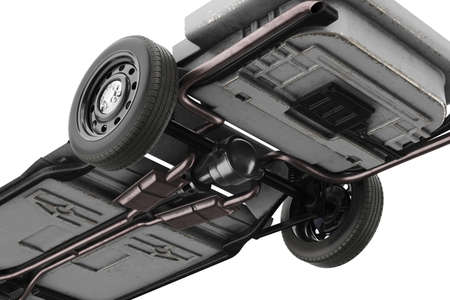 Chassis frame car with wheel, close, bottom view. 3D rendering Stock Photo