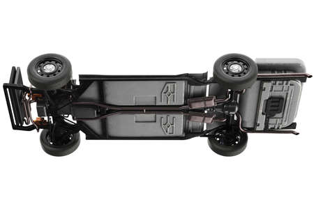 Chassis frame with black rubber wheel. 3D rendering