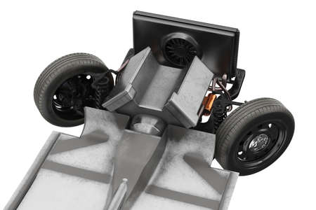 Chassis frame car with engine, close view. 3D rendering Stock Photo
