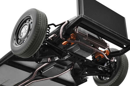 Chassis frame car with wheel, bottom view, close. 3D rendering Stock Photo
