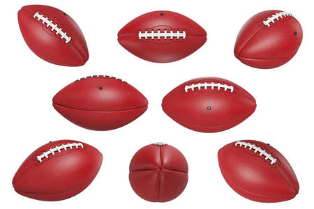 Football american, leather red brown ball set. 3D rendering Stock Photo
