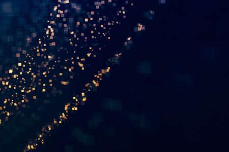 Glitter squares lights glittering background. Defocused bokeh dark. Illustration