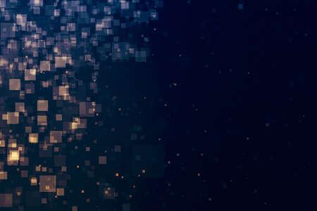 Glitter lights glittering squares shape background. Defocused bokeh dark. Illustration