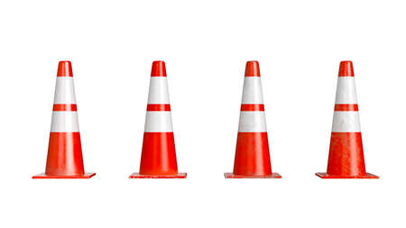 Traffic cone barrier warning, isolated background, set. 3D rendering Stock Photo