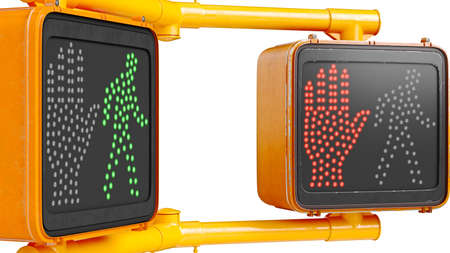 Traffic sign light orange, isolated background, close view. 3D rendering