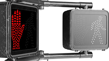 Traffic sign light black, isolated background, close view. 3D rendering