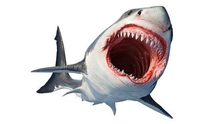 Depredador marino de tiburón blanco con gran boca abierta y dientes. Representación 3D Foto de archivo