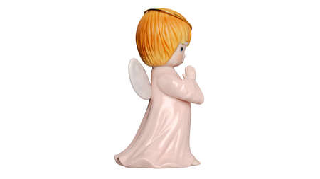 Angel cute sculpture wings young girl, side view. 3D rendering Stockfoto