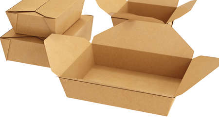 Packaging food box cardboard brown open and closed on white isolated background, close view. 3D rendering