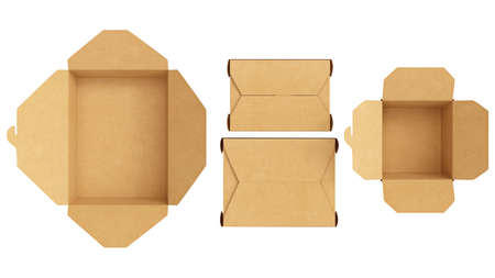 Packaging food box cardboard brown open and closed on white isolated background, top view. 3D rendering 写真素材