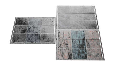 Steel sheet old silver floor. 3D rendering