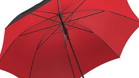 Umbrella parasol open black with red bottom, close view. 3D rendering Stok Fotoğraf