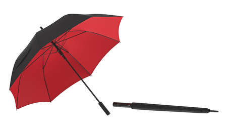 Umbrella parasol open with red bottom and closed. 3D rendering