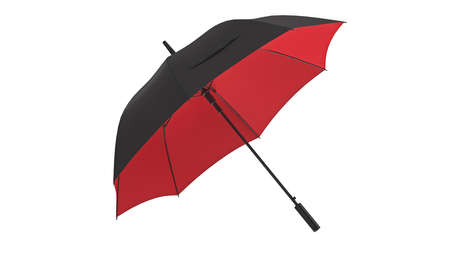 Umbrella parasol open black with red bottom. 3D rendering