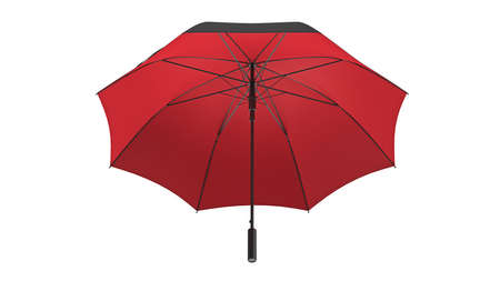 Umbrella parasol open black with red bottom, front view. 3D rendering