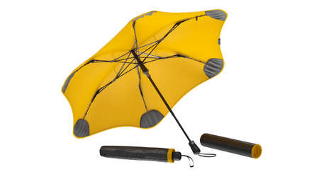 Umbrella parasol open modern yellow and closed. 3D rendering