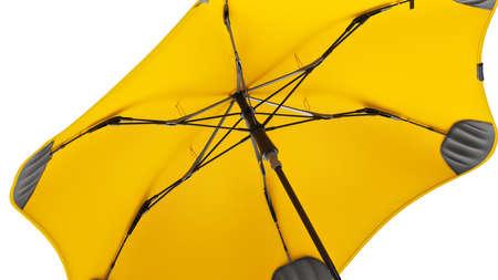 Umbrella parasol open modern yellow, close view. 3D rendering