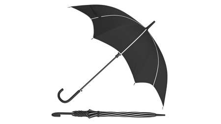 Umbrella parasol classic open with white inserts, side view. 3D rendering Stok Fotoğraf