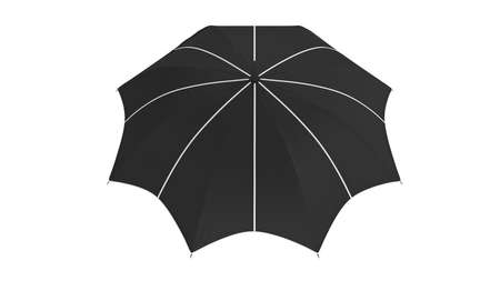 Umbrella parasol classic open with white inserts, back view. 3D rendering