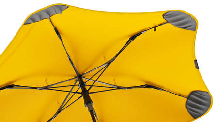 Umbrella open modern yellow, close view. 3D rendering