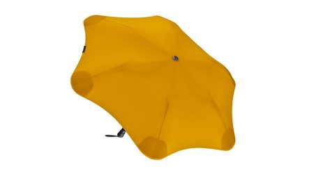 Umbrella parasol open modern yellow, back view. 3D rendering