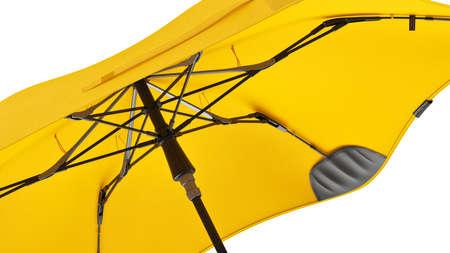 Umbrella parasol open yellow, close view. 3D rendering