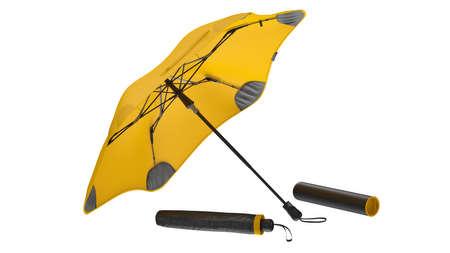 Umbrella parasol open yellow and closed. 3D rendering