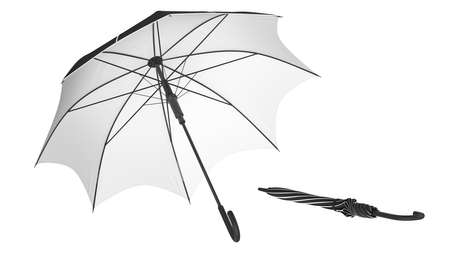 Umbrella parasol classic open with white bottom and closed. 3D rendering Stok Fotoğraf