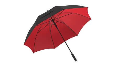 Umbrella parasol open black with red bottom. 3D rendering