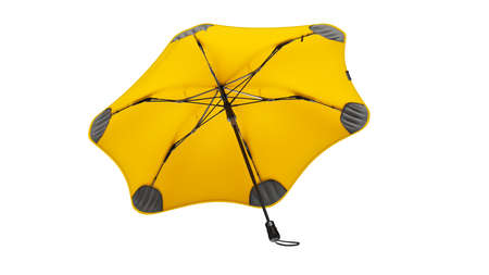 Umbrella parasol open modern design yellow colors. 3D rendering Stok Fotoğraf