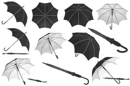 Umbrella parasol classic open with white inserts set. 3D rendering