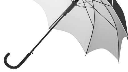 Umbrella parasol classic open with white bottom, close view. 3D rendering