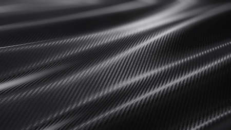 Carbon wave soft curve dark background. 3D rendering