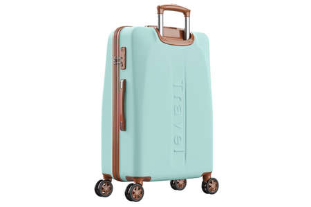 Suitcase baggage travel blue large luggage. 3D isolated white background