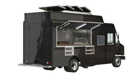 Food truck mobile yellow cafe. 3D isolated white background