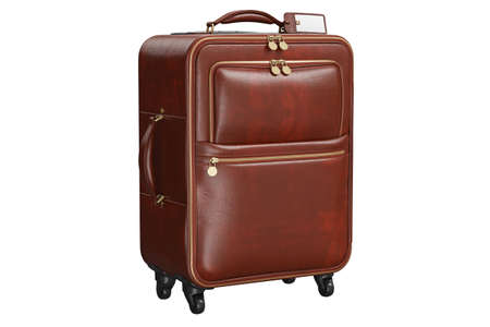 Suitcase travel large leather brown luggage. 3D isolated white background