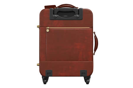 Suitcase leather with long handle, back view. 3D isolated white background
