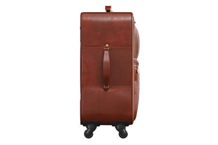 Baggage with long handle brown, side view. 3D isolated white background