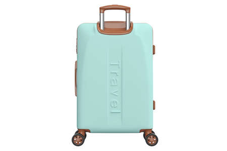 Suitcase baggage, front view. 3D isolated white background 免版税图像