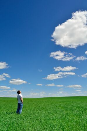 sky grass: young man looks at the bright sky over the green field